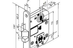 Схема замочной конструкции межкомнатной двери с размерами
