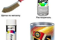 Инструмент и материалы для устранения ржавчины на металлической двери