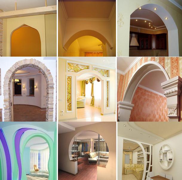 Разновидности арок из гипсокартона