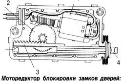 Схема моторедуктора блокировки дверей