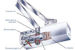 Схема устройства дверного доводчика