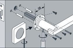 Схема установки дверной ручки на квадратном основании