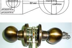 Ручка-защелка и ее схема разметки для монтажа