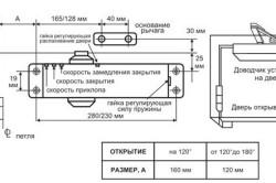 Схема установки дверного доводчика