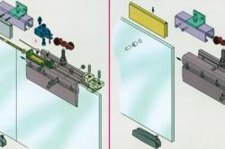 Схема крепления стеклянных дверей