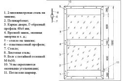 Схема навесной двери из поликарбоната