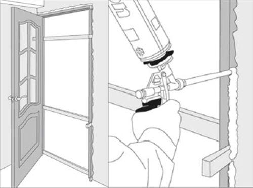 Схема запенивания дверной