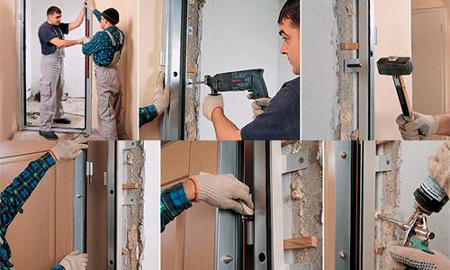 Рабочие моменты установки входной металлической двери