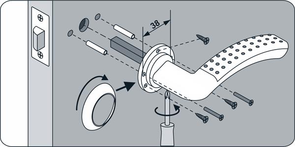 Схема установки дверной ручки
